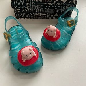 Mini Melissa toddler girls pig sandals size 7 new
